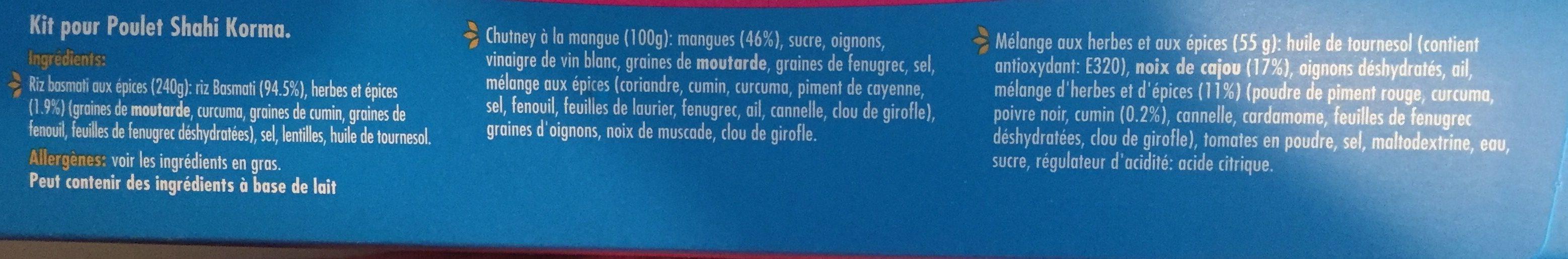 Kit pour poulet shah korma - Ingredients - fr