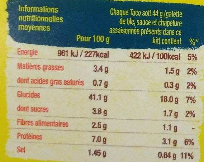 Kit pour tacos avec panadillas Crousti'poulet - Nutrition facts