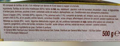 Kit pour Fajitas - Ingrediënten - fr