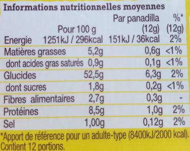 Mini panadillas - Voedingswaarden - fr