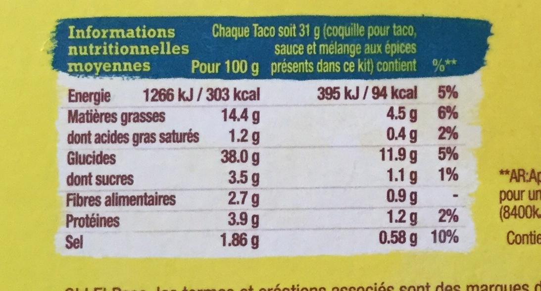 Kit pour Taco Up - Informations nutritionnelles