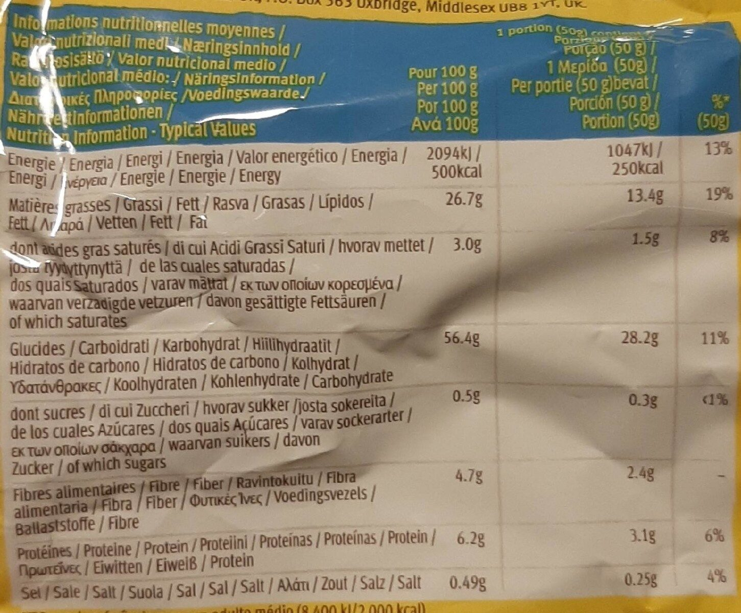 Tortilla Nachips - Nutrition facts - en