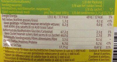 Oldelpaso Fajitas Mild Würzmischung - Valori nutrizionali - fr