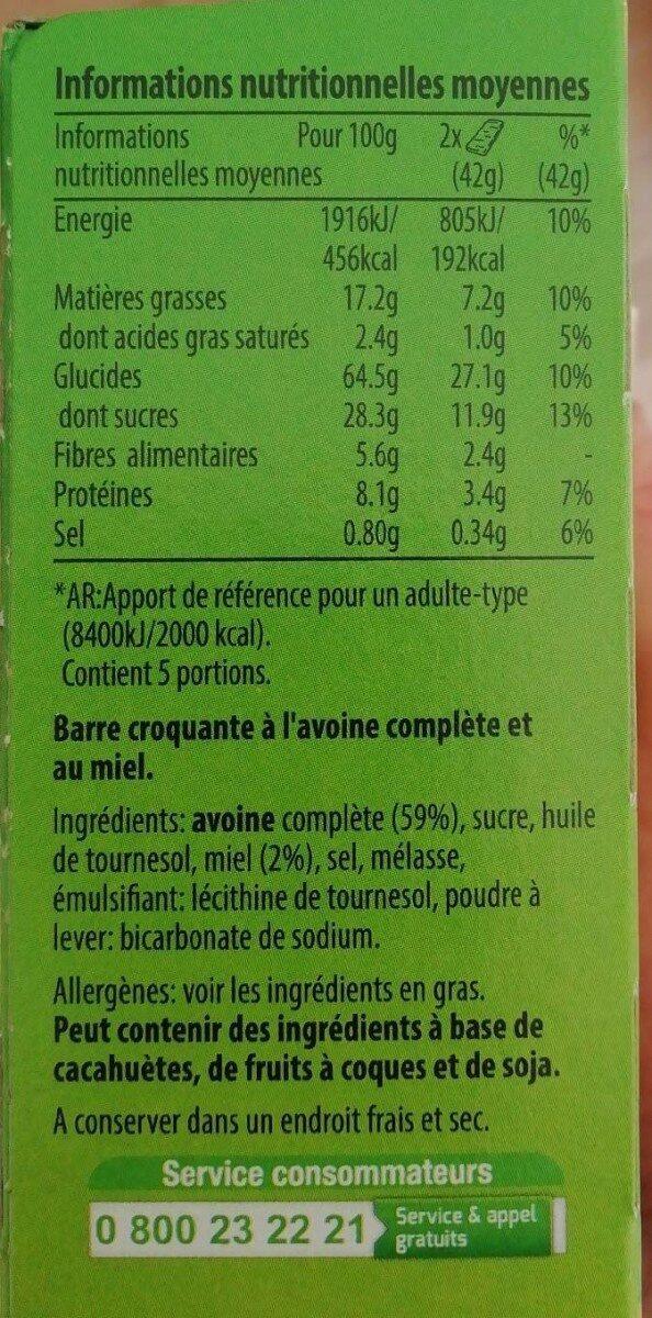 Crunchy avoine et miel - Información nutricional - fr