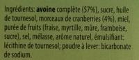 Crunchy Avoine & Cranberries - Ingredients - fr