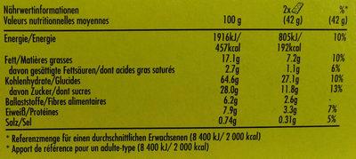 Crunchy Kanadischer Ahornsirup - Nährwertangaben