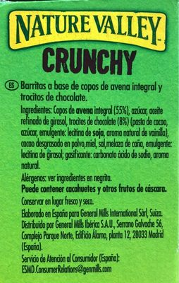 Crunchy de avena integral con chocolate negro - Ingrédients