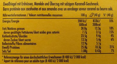 Protein Salted Caramel Nut - Informations nutritionnelles