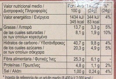 Fibre One 90 calorie - Nutrition facts - es