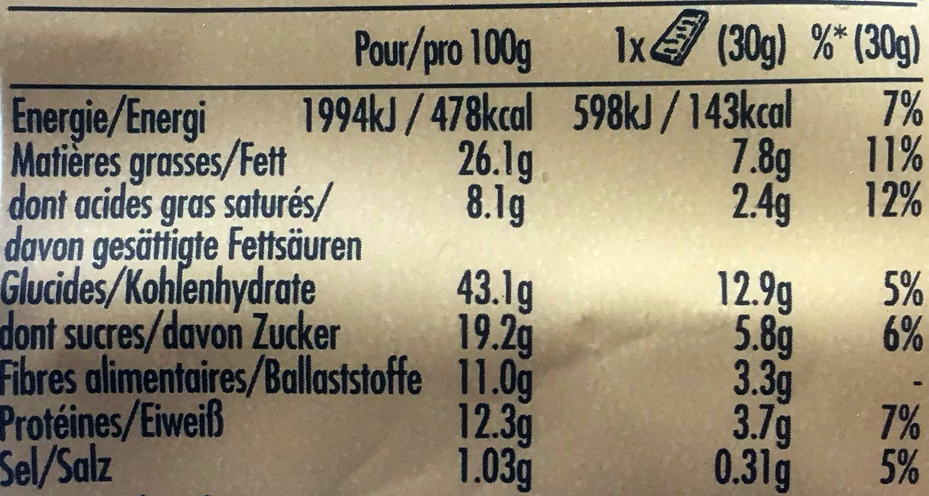 Sweet and Salty Nut Peanut Cereal Bar - Nährwertangaben - de