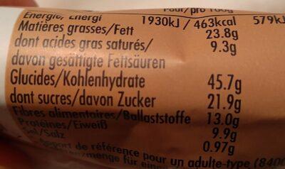 Chocolat noir et mélange de noix - Voedingswaarden