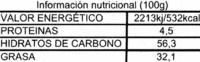 Tableta de chocolate negro 45% cacao - Voedigswaarden