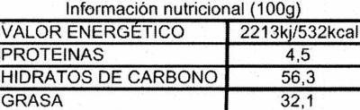 Tableta de chocolate negro 45% cacao - Información nutricional