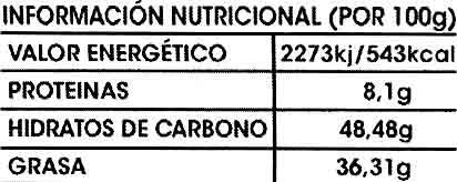 Tableta de chocolate negro con almendras 45% cacao - Informació nutricional - es