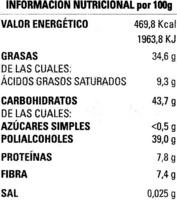 Tableta de chocolate negro edulcorado 60% cacao - Información nutricional - es