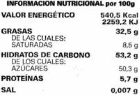 Tableta de chocolate negro 50% cacao - Información nutricional