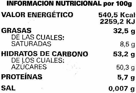 Tableta de chocolate negro 50% cacao - Información nutricional - es