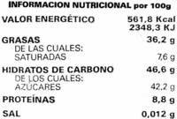 Atlantic seleccion chocolate negro con almemdras - Informació nutricional - es