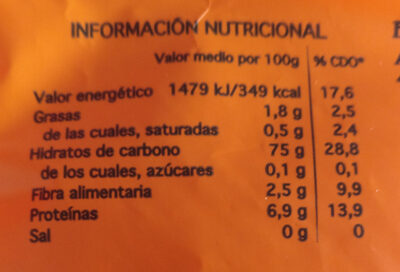 Sueltissimo: arroz vaporizado - Información nutricional