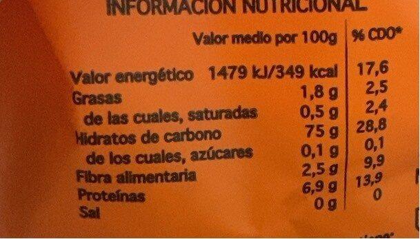 Arroz vaporizado de grano largo - Nutrition facts - es