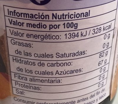 Caramelo líquido - Información nutricional - es