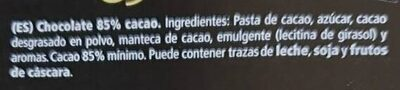 Chocolate negro 85% cacao - Ingredients - es