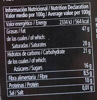 Chocolate negro 85% cacao - Informació nutricional - es