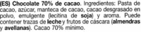 Tableta de chocolate negro 70% cacao - Ingredients - es