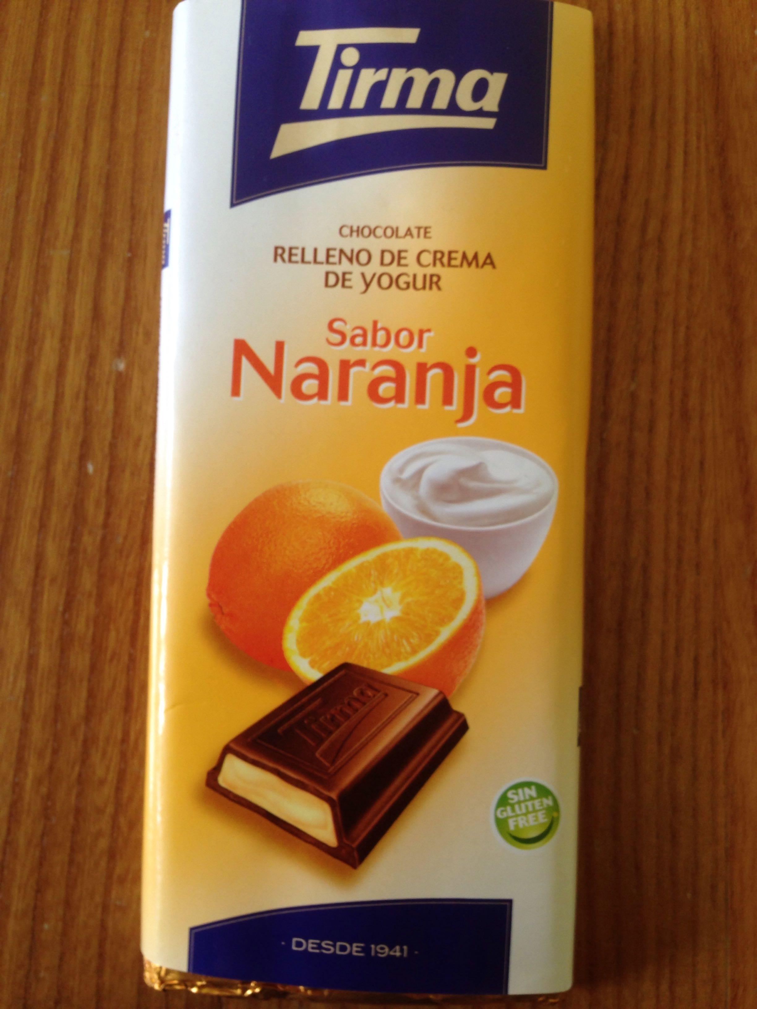 Chocolate Relleno de Crema de Yogur. Sabor Naranja - Producto