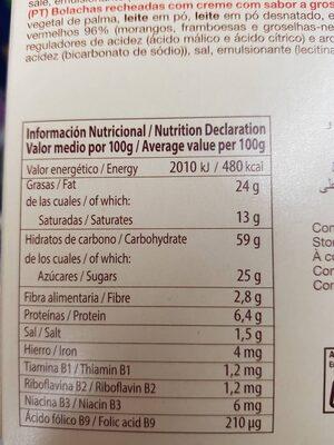 Galleta de cereales con frutos rojos - Información nutricional
