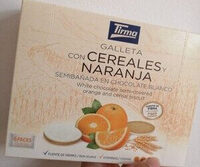 Galleta con cereales y naranja semibañada en chocolate blanco - Producte - es