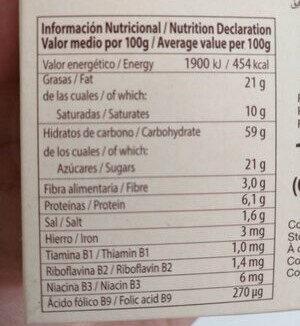 Galleta con cereales y naranja semibañada en chocolate blanco - Nutrition facts - es