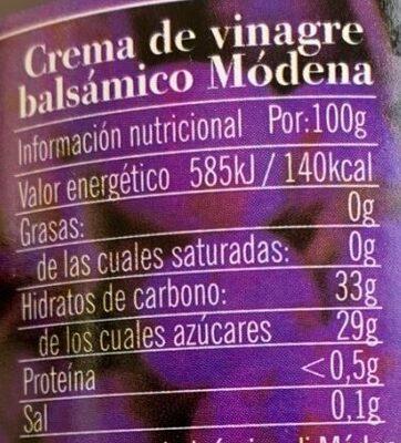 Crème de vinaigre balsamique - Informations nutritionnelles - fr
