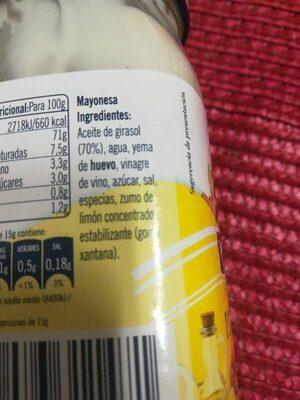 Mayonesa Ybarra - Ingredients