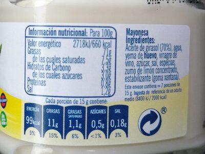 Mayonesa ybarra - Informació nutricional