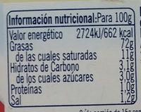 Mayonesa 100% aceite de oliva - Informació nutricional