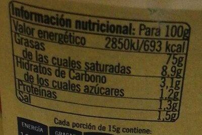 Salsa ali oli - Información nutricional