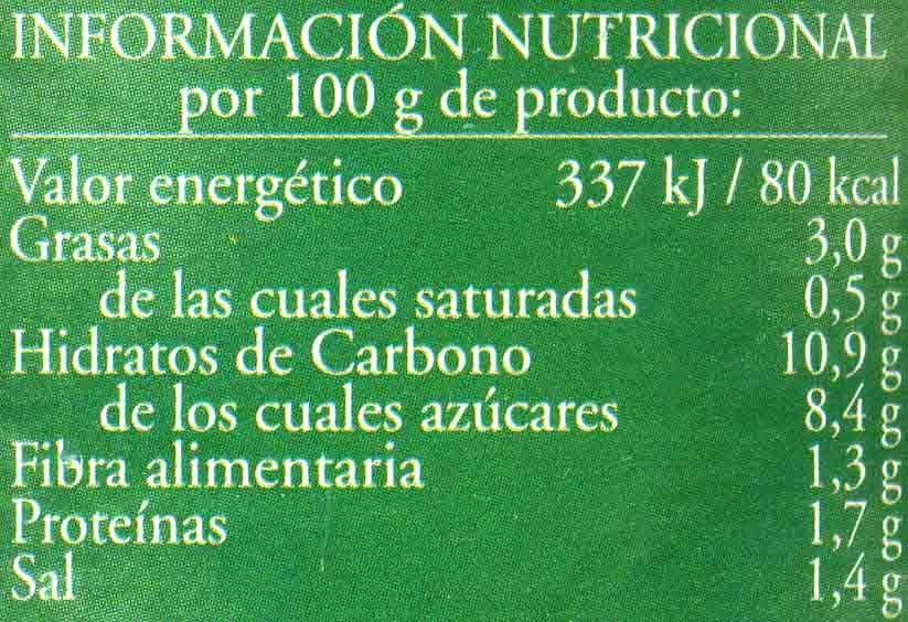 Salsa napolitana - Voedingswaarden - es