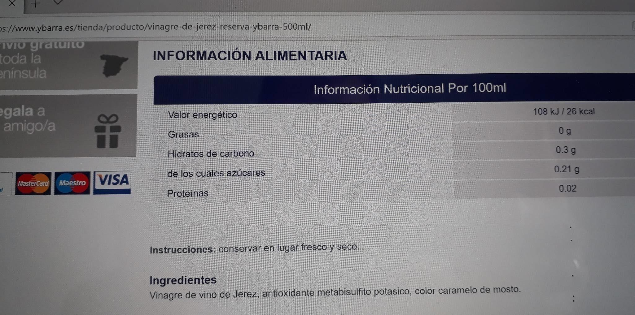 Vinagre De Jerez Ybarra - Información nutricional - es
