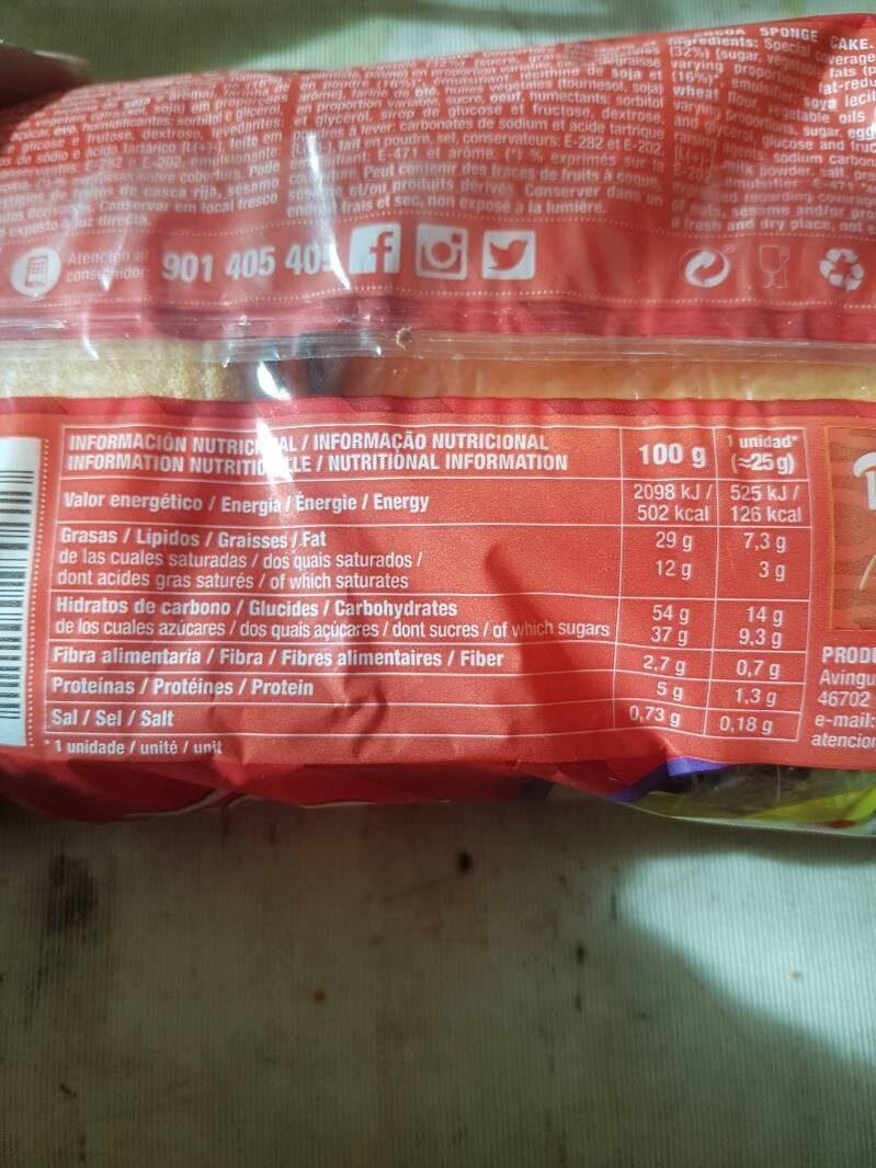 Dulcesol Llunes - Información nutricional