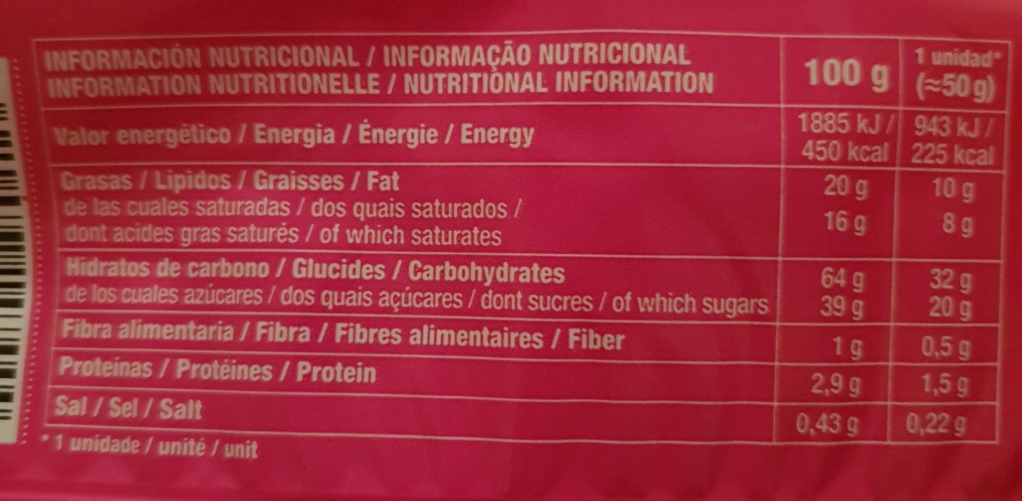Chapelas pinky - Informació nutricional - fr