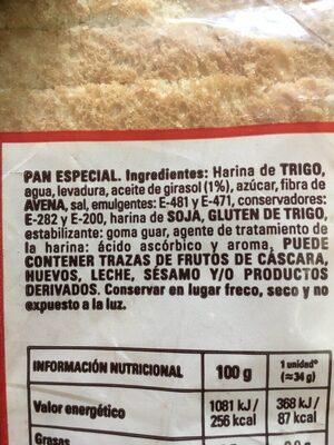 Pan de molde - Ingrédients