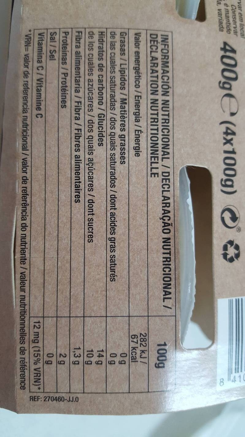 Compota de manzana vitalsun - Nutrition facts