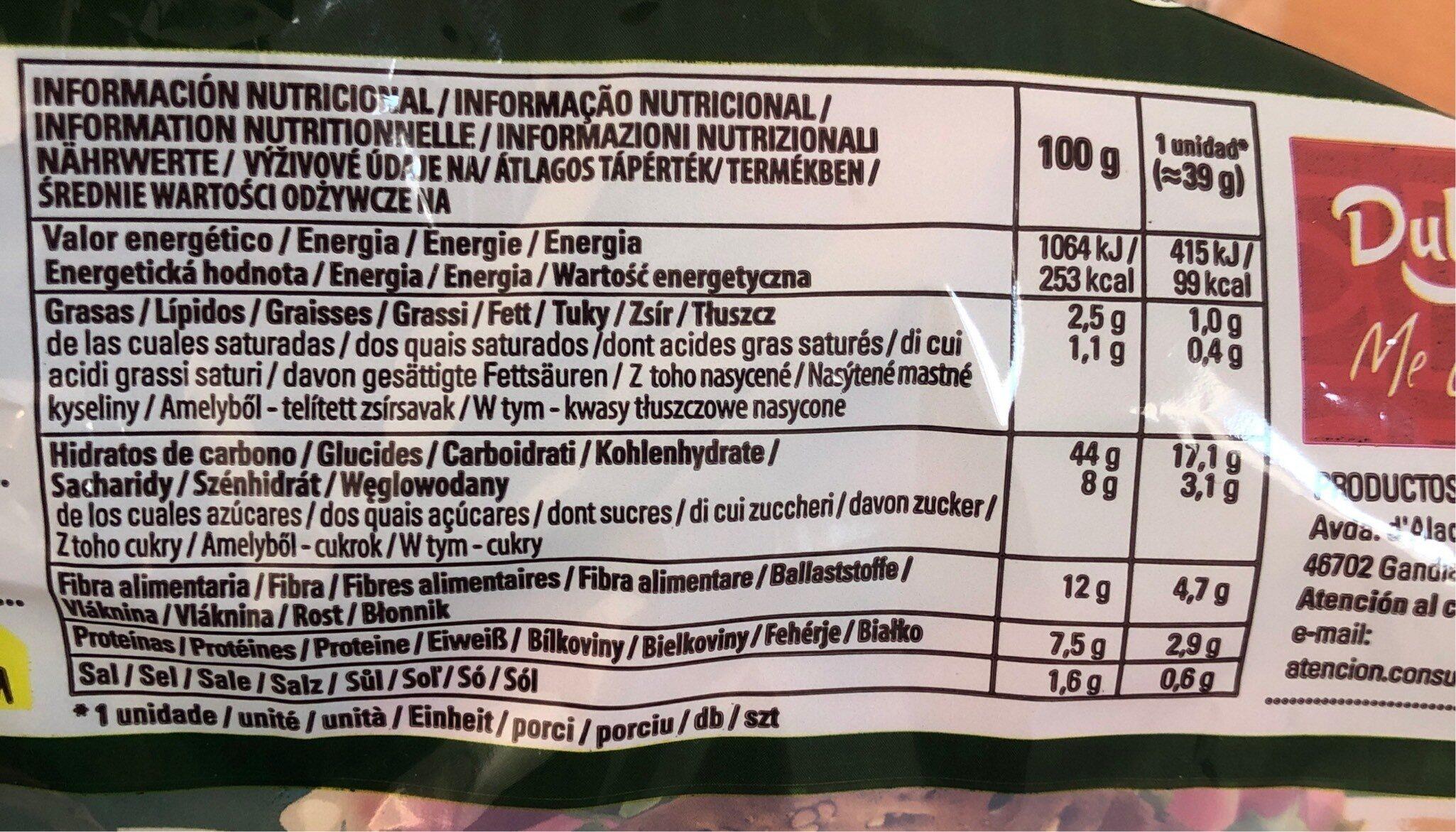 Pan sottile cereales y semillas - Informations nutritionnelles - fr