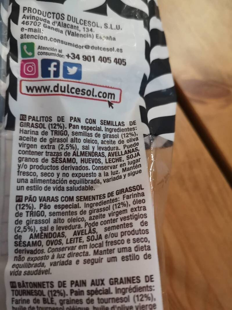 Pan crujiente con pipas - Ingredients