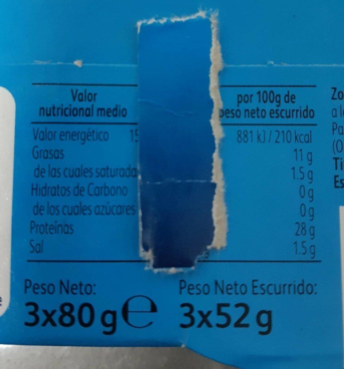 Atún claro aceite girasol latas - Voedingswaarden - es
