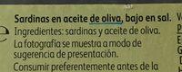 Sardinillas aceite de oliva bajas sal - Ingredients