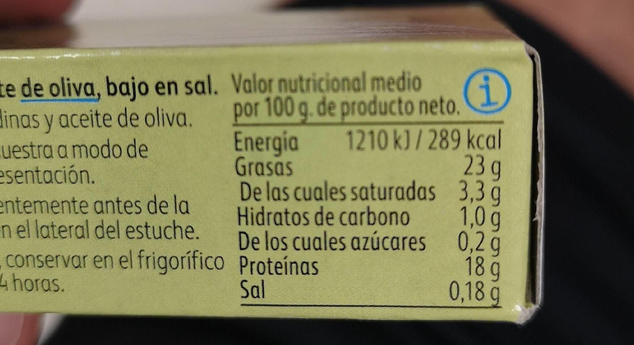 Sardinillas aceite de oliva bajas sal - Informació nutricional