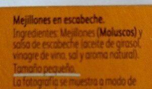 Mejillones Escabeche - Ingredientes - es
