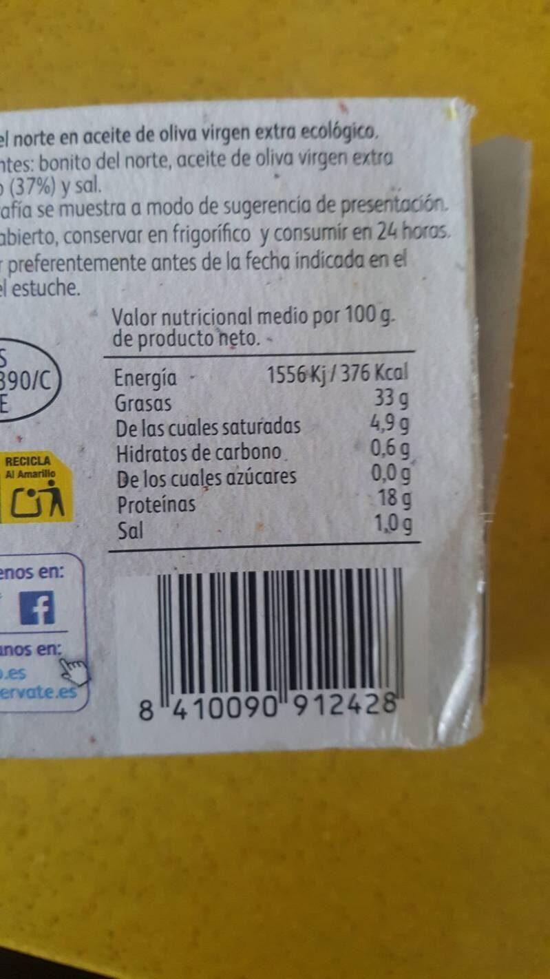 Bonito del norte en aceite de oliva virgen extra ecologico - Información nutricional